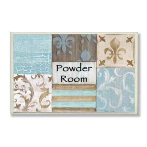 "Stupell Industries 12.5 in. x 18.5 in. ""Fleur de Lis Powder Room Blue, Brown and Beige Bathroom"" by Bonnie Wrublesky Printed Wood Wall Art"