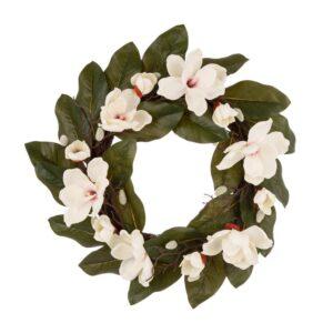 Glitzhome 24 in. Dia Artificial Magnolia Wreath