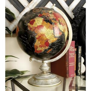 LITTON LANE Nautical Decorative globe with Whitewashed Tiered Base