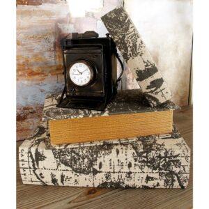 LITTON LANE Nautical Rectangular Synthetic Leather Book Boxes (Set of 3)