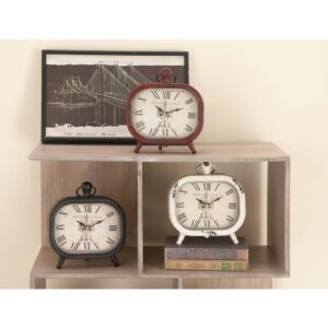 LITTON LANE Classic Rounded Rectangle Iron Table Clock in Distressed Red and Black or White (3-Pack)