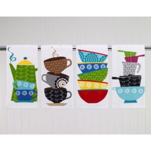 RITZ T-fal Multicolor Coffee Cups Cotton Print Dual and Solid Kitchen Dish Towel (Set of 6)