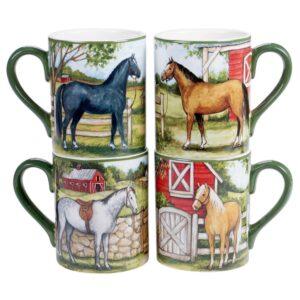 Certified International Clover Farm 4-Piece Seasonal Multicolored Earthenware 14 oz. Mug Set (Service for 4)
