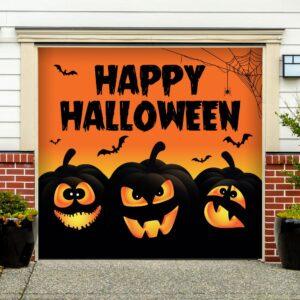 My Door Decor 7 ft. x 8 ft. Happy Halloween Jack-O-Lanterns Garage Door Decor Mural for Single Car Garage