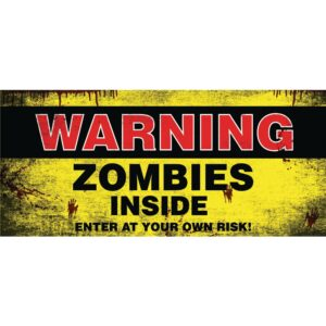 My Door Decor 7 ft. x 16 ft. Zombies Inside Halloween Garage Door Decor Mural for Double Car Garage Car Garage
