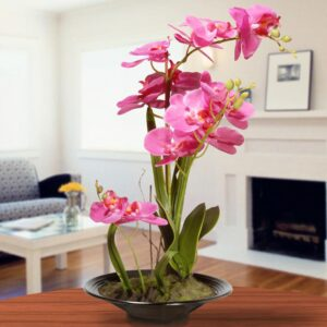 National Tree Company 17 in. Pink Orchid Flowers