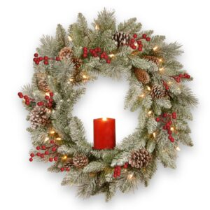 National Tree Company 24 in. Feel Real Snowy Bristle Wreath with 50 Battery Operated Red Electronic Candle 9 Red Berries and 15 Cones