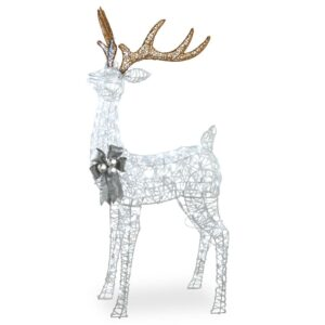 National Tree Company 65 in. Glittered Standing Buck with 200 Cool White Twinkling LED Lights