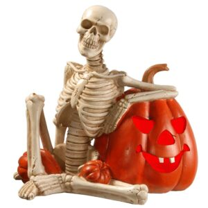 National Tree Company 9 in. Lighted Skeleton and Pumpkin Halloween Decor