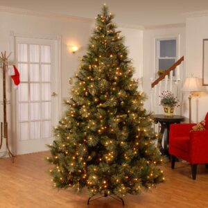 National Tree Company 7-1/2 ft. Carolina Pine Hinged Artificial Christmas Tree with 86 Flocked Cones and 750 Clear Lights