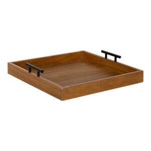 Kate and Laurel Lipton 16 in. x 16 in. x 3 in. Natural/Black Decorative Wall Shelf