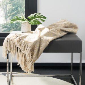 Safavieh Peppin Natural/Gold Throw Blanket