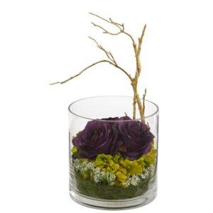 Nearly Natural Indoor Roses & Hydrangeas Artificial Arrangement