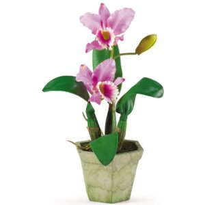 Nearly Natural Potted Orchid Mix in Lavender/Gold/Yellow (Set of 3)