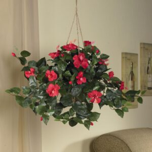 Nearly Natural 24 in. Hibiscus Hanging Basket