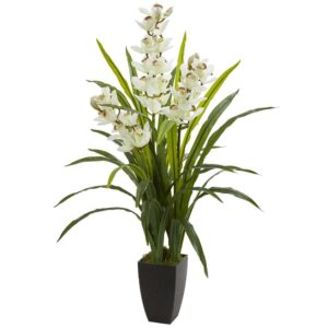 Nearly Natural Indoor 45 in. Cymbidium Orchid Artificial Plant