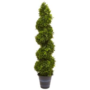 Nearly Natural Indoor and Outdoor 48 in. Boxwood Spiral Topiary with Planter