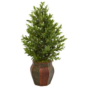 Nearly Natural Indoor 40-In. Olive Cone Topiary Artificial Tree in Decorative Planter