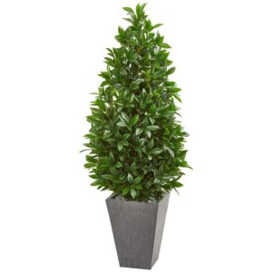 Nearly Natural Indoor/Outdoor 57-In. Bay Leaf Cone Topiary Tree in Slate Planter