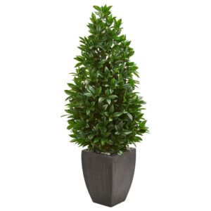 Nearly Natural Indoor/Outdoor 56-In. Bay Leaf Cone Topiary Artificial Tree in Black Planter