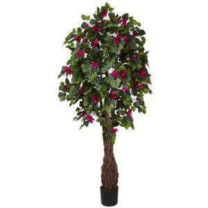 Nearly Natural 6 ft. Green Multi Vine Bougainvillea Silk Tree