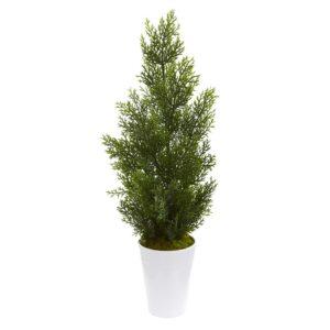 Nearly Natural Indoor/Outdoor 27 in. Mini Cedar Artificial Pine Tree in Decorative Planter