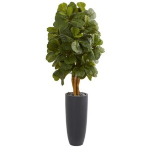 Nearly Natural 5.5 ft. High Indoor Fiddle Leaf Artificial Tree in Gray Cylinder Planter