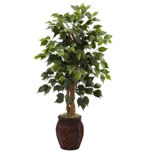Nearly Natural 44 in. Ficus Tree with Decorative Planter