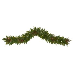 Nearly Natural 6 ft. Pre-Lit Christmas Pine Artificial Garland with 50 Warm White LED Lights and Berries