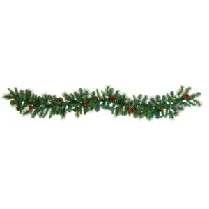 Nearly Natural 6 ft. Battery Operated Pre-lit Mixed Pine and Pinecone Artificial Garland with 35 Clear LED Lights