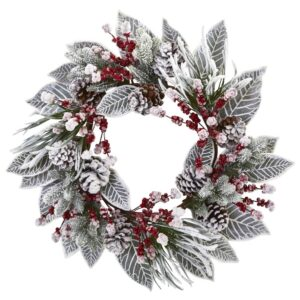 Nearly Natural 24in. Unlit Artifical Holiday Wreath with Snowy Magnolia Berry