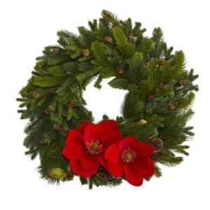 Nearly Natural 30 in. Magnolia Pine and Pinecone Artificial Wreath