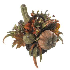 Nearly Natural 15 in. Fall Pumpkin and Berry Artificial Table Arrangement