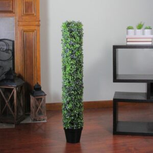 Northlight 37.5 in. Potted Artificial 2-Tone Boxwood Column Topiary Tree