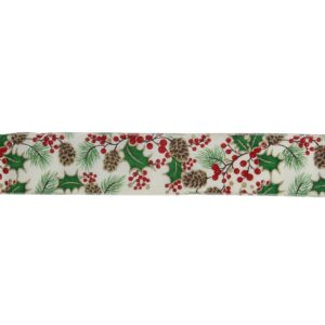 Northlight 2.5 in. x 16 yds. Glitter Holly Berries and Pinecones Cream Wired Ribbon