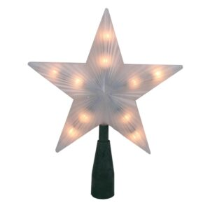 Northlight 7 in. Lighted Frosted 5-Point Star Christmas Tree Topper with Clear Lights