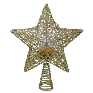 Northlight 13 in. LED Lighted Gold Star with Rotating Projector Christmas Tree Topper