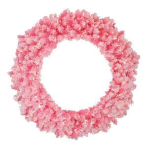 Northlight 36 in. Pre-Lit Flocked Pink Artificial Christmas Wreath with Clear Lights