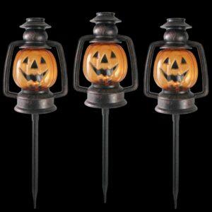 Northlight 16.5 in. Flickering Pumpkin Halloween Pathway Lantern Markers (Set of 3)