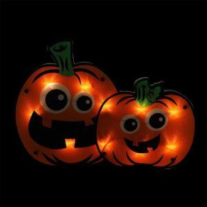 Northlight 11.5 in. Lighted Jack-O-Lantern Pumpkin Couple Window Silhouette