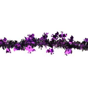 Northlight 50 ft. Black with Purple Bats Halloween Tinsel Garland Unlit