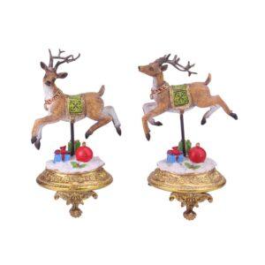 Northlight 9.25 in. Glittered Reindeer Christmas Stocking Holders (Set of 2)
