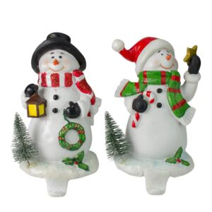Northlight 7.25 in. Glitter Dusted Snowman Christmas Stocking Holders (Set of 2)