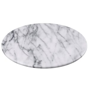 Creative Home 12 in. Off-White Natural Marble Round Board Cheese Serving Plate, Dessert Cake Service Board