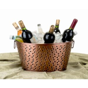Old Dutch 17 in. x 11 in. x 8.25 in., 4 Gal. Oval Party Tub in Antique Hammered Copper