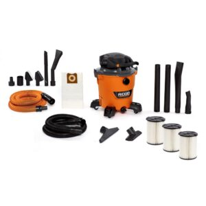 RIDGID 12 Gal. 6.0-Peak HP NXT Wet/Dry Shop Vacuum with Detachable Blower, Two Additional Filters and Premium Car Cleaning Kit
