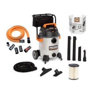 RIDGID 16 Gal. 6.5-Peak HP Stainless Steel Wet/Dry Shop Vac with Filter, 7 ft. Hose, 10 ft. Pro Hose and Accessories