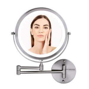 Ovente 13.2 in. H x 1.6 in. W, Small Round Nickel Brushed Lighted Framed Modern Vanity Mirror, 1x 7x Magnification