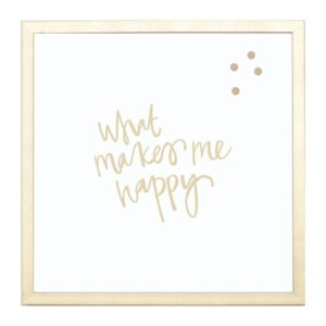 Petal Lane What Makes Me Happy, Gold Frame, Magnetic Memo Board