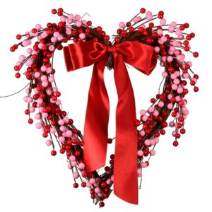National Tree Company 14 in. Dia Berries and Ribbon Valentine Heart